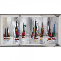 Peinture sur toile et plexiglas 'REGATE' 80X150 cm