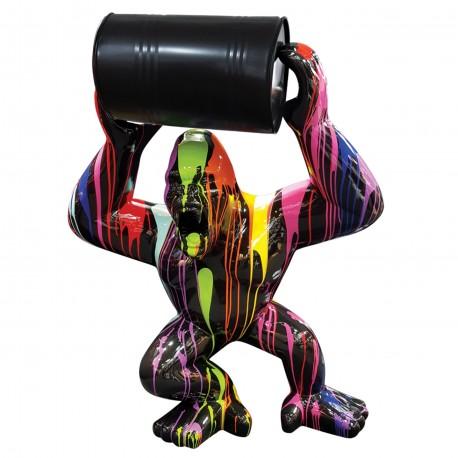 Objet déco statue Gorille tonneau S trash noir H.65 cm