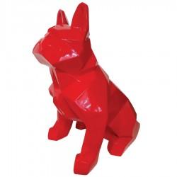 Objet déco statue Bulldog rouge H.65 cm