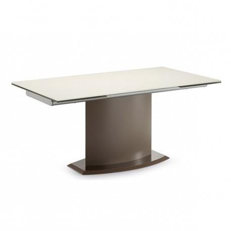 """Table rectangulaire à rallonges acier/verre trempé corde """"SUEZ"""""""