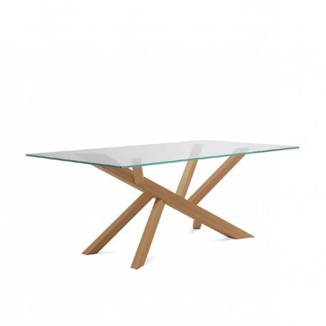 """Table """"TEAM"""" largeur 200 cm pieds chêne plateau verre"""