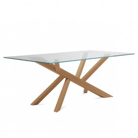 """Table """"TEAM"""" largeur 240 cm pieds chêne plateau verre"""