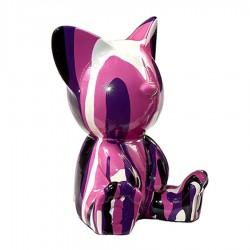 Sculpture chat ILEO violet H.12 cm