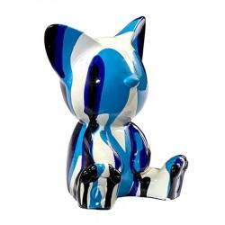 Sculpture chat ILEO bleu H.12 cm