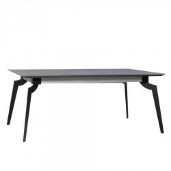 """Table avec allonge 90 cm et plateau en céralite """"MYGALE"""" L200 cm"""