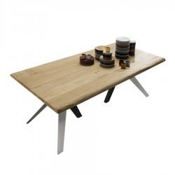 """Table avec plateau en bois """"FLORENCE"""" pieds blancs et gris torto"""