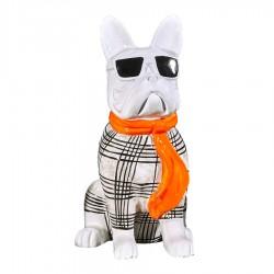 Sculpture chien OSWALD H. 20 cm écharpe orange