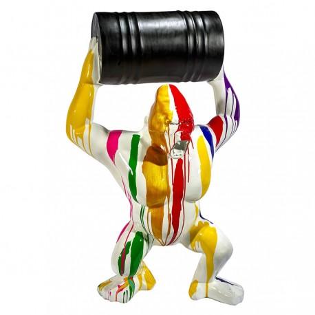 Sculpture gorille blanc tonneau KUBA H.140 cm