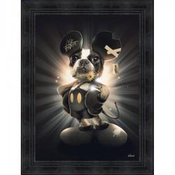 Peinture moderne Sylvain BINET Chien Mickey 63x83 cm