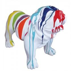 Objet déco statue bulldog trash blanc H.70 cm
