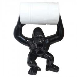 Objet déco statue Gorille tonneau noir H.65 cm