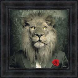 Tableau moderne Sylvain BINET Lion Mafia 53X53 cm