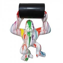 Objet déco statue Gorille tonneau S trash blanc H.65 cm