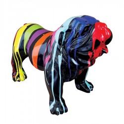 Objet déco statue Bulldog trash noir h. 50 cm