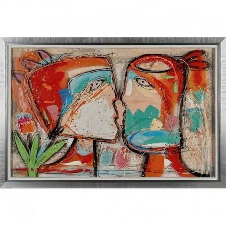 """Peinture sur toile et plexiglas """"KISS"""" 89x129 cm"""