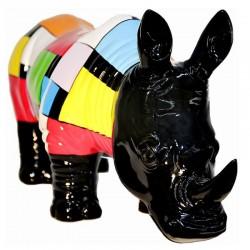 "Sculpture rhinocéros ""RODOLF"" H.36 cm"