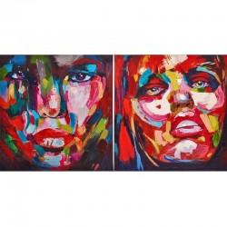 """Set de 2 tableaux """"SYMPHONIE """" 60x60 cm"""