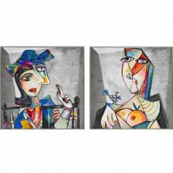 """Set de 2 tableaux """"TOPAZE """" 60x60 cm"""