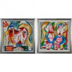 "Set de 2 peintures ""DOROTHY"" 90x90 cm"