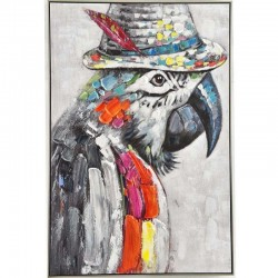 "Peinture perroquet ""DIEGO"" 80x120 cm"