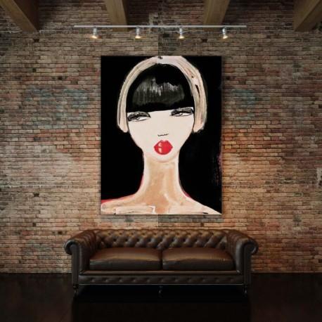 Tenture murale design en coton velours 130x177cm Lady in Red