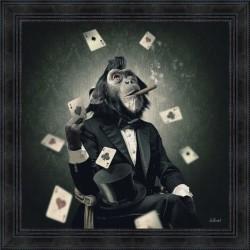 Tableau moderne Sylvain BINET Singe cigare 2 81x81 cm