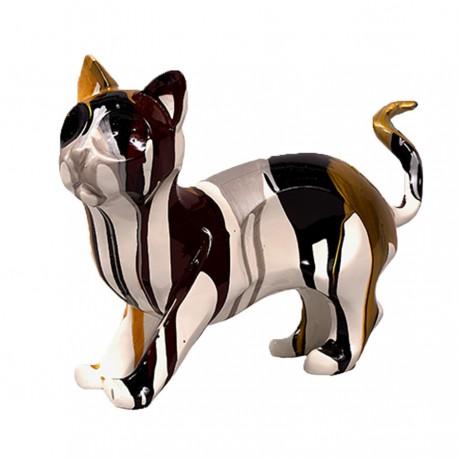 Objet déco statue chat AZIM debout H.22 cm