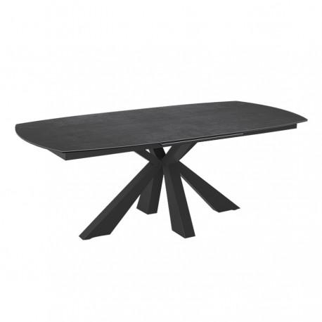 Table extensible LYNX pied noir, plateau en céramique titane