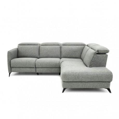 Canapé d'angle droit IVANA têtières ajustables, 1 relax électrique (275 cm)