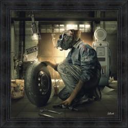 Tableau moderne Sylvain BINET Garage Vintage 81x81 cm