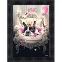 Tableau moderne Sylvain BINET Bulldog Girly 63x83 cm