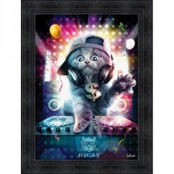 Tableau moderne Sylvain BINET DJ Cat 63x83 cm