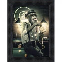 Tableau moderne Sylvain BINET Singe Billard 63x83 cm