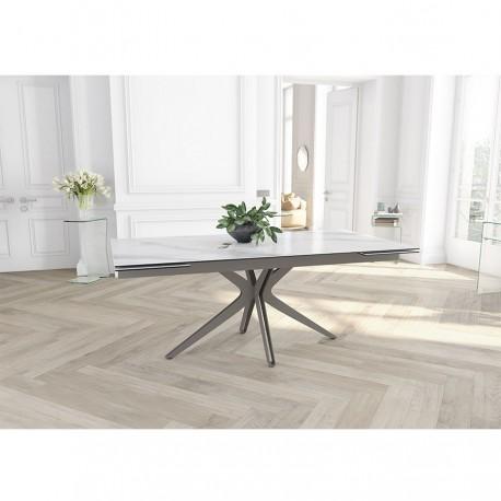 Table extensible LAURA pied gris taupe, plateau marbre mat
