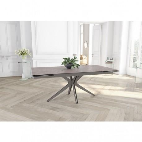 Table extensible LAURA pied gris taupe, plateau céramique argile
