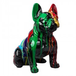 Sculpture bulldog OLAF noir assis H.40 cm
