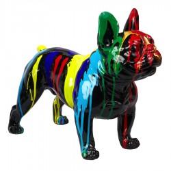Objet déco statue bulldog OLAF noir debout H.40 cm