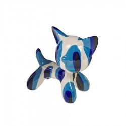 Objet déco statue chat MIRA bleu H.11 cm