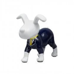 Objet déco sculpture chien RANDY cravate jaune