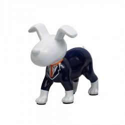 Objet déco sculpture chien OSCAR cravate orange