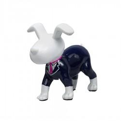 Objet déco sculpture chien OSCAR cravate rose fushia