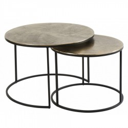 Lot de 2 tables basses MAYA dorées