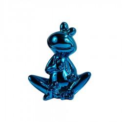 Objet déco statue grenouille JEDY H.20 cm bleue