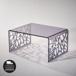 """Table basse """"RESILLE"""" largeur 80 cm bleu fumé"""