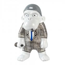 Objet déco statue singe JACKY H.20 cm cravate bleue