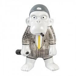 Objet déco statue singe JACKY H.20 cm cravate jaune