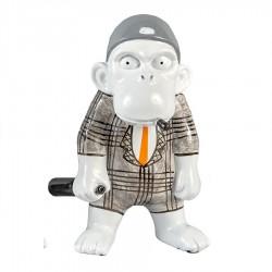 Objet déco statue singe JACKY H.20 cm cravate orange