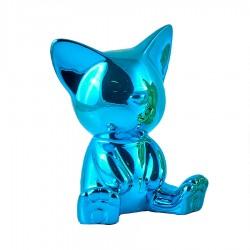 Objet déco statue chat MIGA H.12 cm bleu
