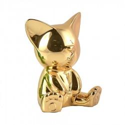 Objet déco statue chat MIGA H.12 cm or