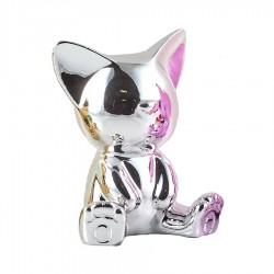Objet déco statue chat MIGA H.12 cm argent
